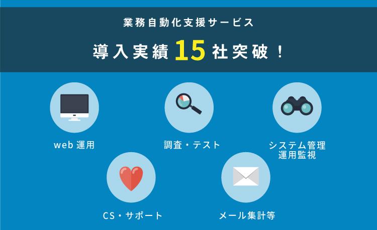 業務自動化支援サービス導入実績15社突破!